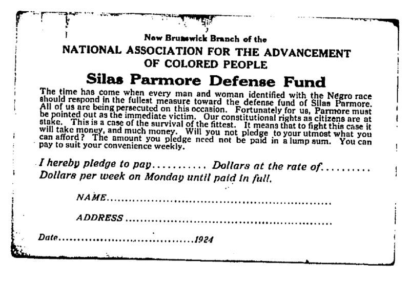 Silas Parmore Defense Fund pledge card