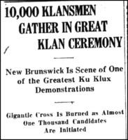 10000 Klansmen Gather in Great Ceremony article Fiery Cross Indiana Ed 1923-05-11-8 headline.png
