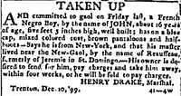 1799-12-31 TAKEN UP ((Trenton) New Jersey State Gazette.jpg
