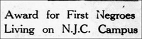 Award for First Negroes Living on N.J.C. Campus