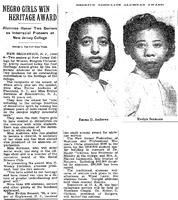Negro Girls Win Heritage Award: Alumnae Honor Two Seniors as Interracial Pioneers at New Jersey College